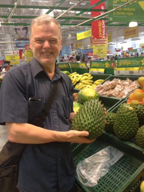 Arthur with a durian fruit