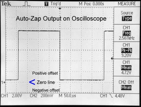AutoZap Zapper output on oscilloscope, showing positive offset